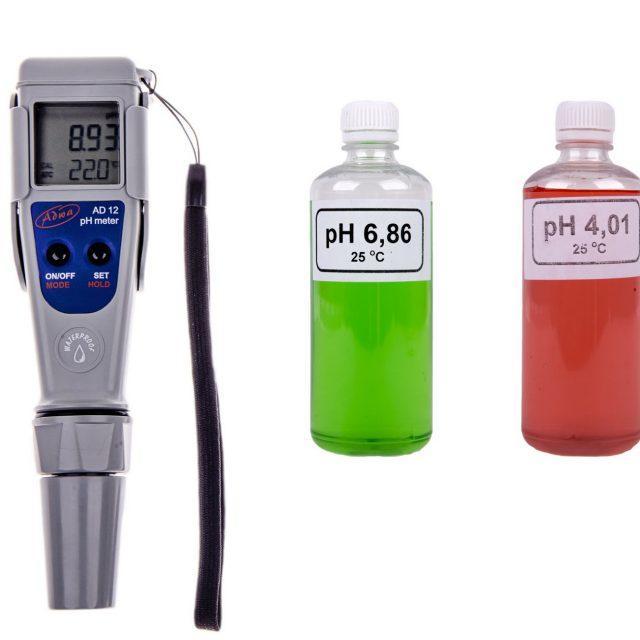 Kertészeti pH mérő / pH elemző AD-12 puffer készlettel